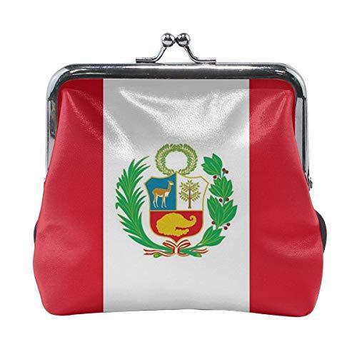 Bolsos de Cambio de Cuero con Cierre de Hebilla para Mujer con Bandera de Perú