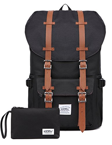 KAUKKO Laptop Outdoor Backpack Travel Hiking Camping Rucksack Casual College Daypack Fits 15' (Nblack 2pcs)
