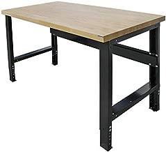 Borroughs Adjustable Height Work Bench with Solid Hardwood Top, 30 x 72 in, 16 Gauge Steel