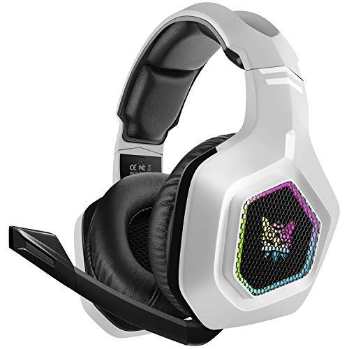 DIZA100 Gaming Headset für PS5, 3.5mm Surround Sound Kabelgebundenes Gaming Kopfhörer mit RGB-Licht und verstellbarem Mikrofon für PS4 PC Xbox One