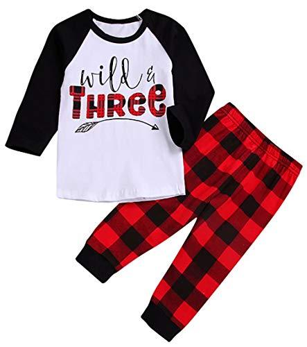 BANGELY Niños Bebé Niños Niñas Navidad Plaid Ropa Set Salvaje Tres Flechas Manga Larga Camisa Tops Pantalones Cuadros 2pcs Trajes - rojo - 4-5 años