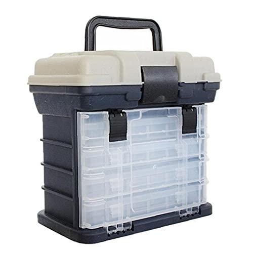 Eaarliyam Caja de Aparejos de Pesca Accesorios de Asiento de Almacenamiento Organizador Caja de Herramientas 4 Compartimentos divisores Multi-Capa