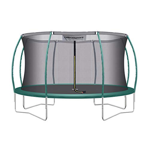 Ultrasport Garden Trampoline XL, diameter 366 cm, max. user weight 150 kg, large outdoor trampoline with lots of space and many safety features, complete trampoline set, green