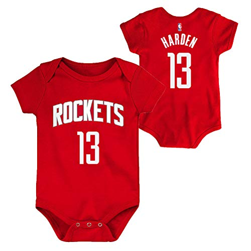 Outerstuff NBA Newborn Infants Team Color Name and Number Player Bodysuit Creeper (0/3 Months, James Harden Houston Rockets Red)