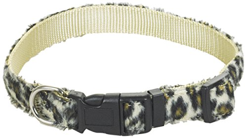 CHAPUIS SELLERIE SLA378 Collare per cani e gatti - Collare in velluto leopardato - Larghezza 10 mm - Lunghezza 30 cm - Misura XS