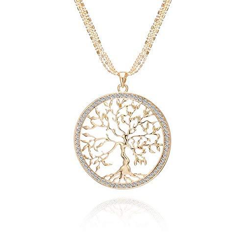 QFJCNZ Damen Halskette Große Runde Anhänger Aussage Baum des Lebens Halsketten Für Frauen Rose Gold Silber Lange Halskette Modeschmuck Geschenk Collier Femme