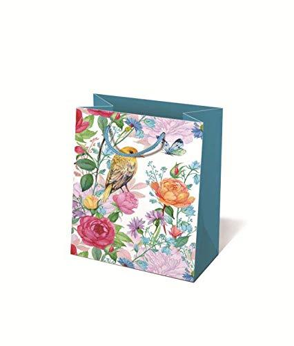 Idena 30243 - Geschenktasche Blüten, 18 x 8 x 23 cm, Blau, Blumen, Tragetasche, Geschenkverpackung, Geschenktüte