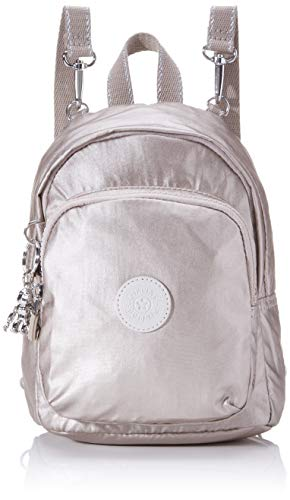 Kipling Damen Delia Compact Rucksack Silber (Metallic Glow)