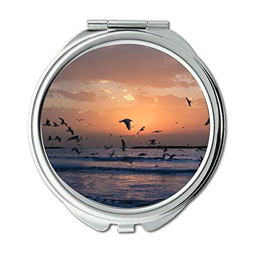 Yanteng Spiegel, Travel Mirror, Strand Vogelperspektive tagsüber, Taschenspiegel, tragbarer Spiegel