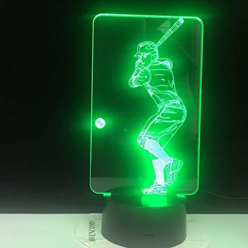 HNXDP Baseball Player 3D Tischleuchte 7 Farben Nachttischlampe Nachtlicht Kinder Geschenk USB Sport Schlafzimmer Dekor LED Schlaf Licht 9560