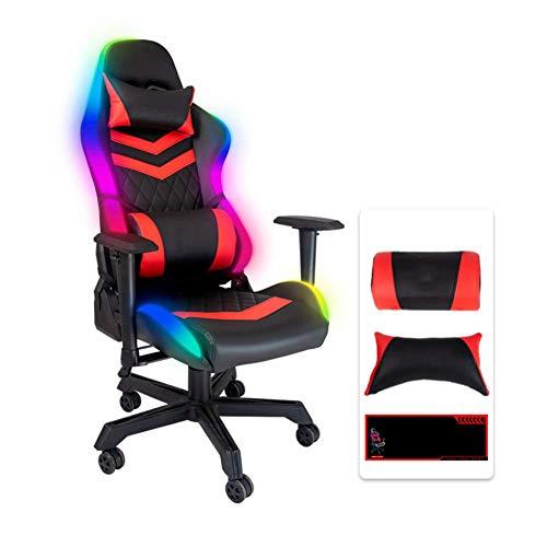 YGCBL Luces LED Gaming Stuhl, Bürostuhl, Schreibtischstuhl, Silla de Juego ergonómico, Höhenverstellbar MIT LENDEN- und Nackenstütze para Mujeres Hombres,Rojo