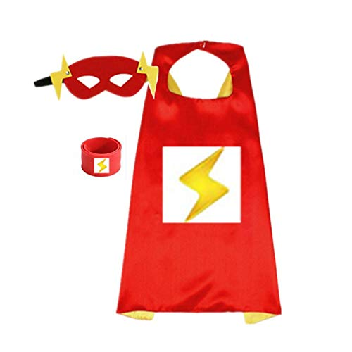 Superhero Capes for Kids, Dress up Costumes-Satin Cape and Felt Mask with Bracelet (C-The Flash) Red
