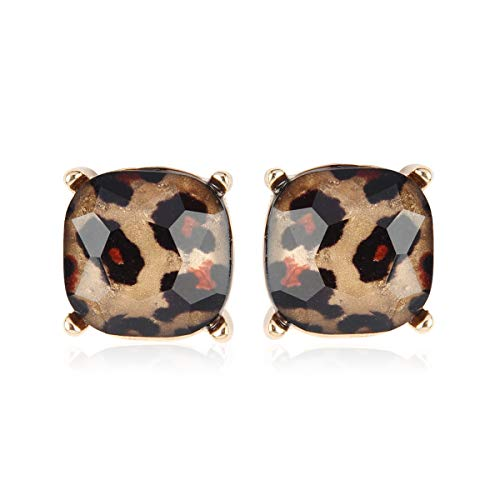 Faceted Jewel Statement Stud Earrings - Cushion Sequin Confetti Glitter Square, Opalescent Faux Pearl Oval Round, Animal Leopard Teardrop (Cushion Square - Leopard Gold)