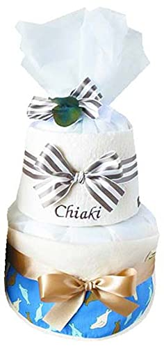 ribon 出産祝い おむつケーキ 今治 タオル 名入れ おしゃれ GOTS認証 北欧 オーガニック   (S, アザラシ柄)