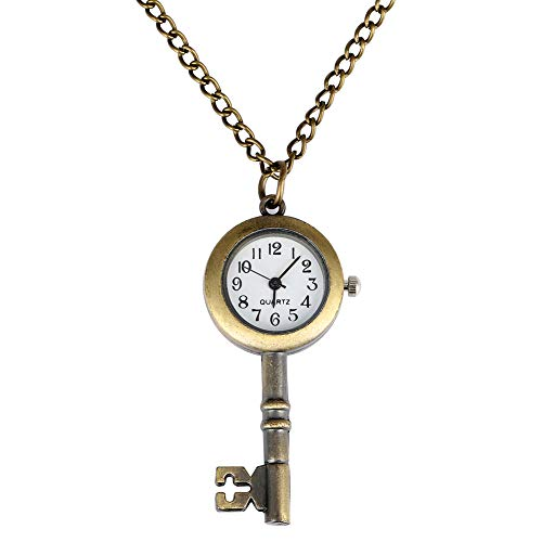 Taschenuhr mit visuellem Schlüssel-Design, für Herren, normales weißes Zifferblatt mit arabischen Ziffern, Taschenuhren für Frauen, schlanke Kettenanhänger, Armbanduhr für Freunde