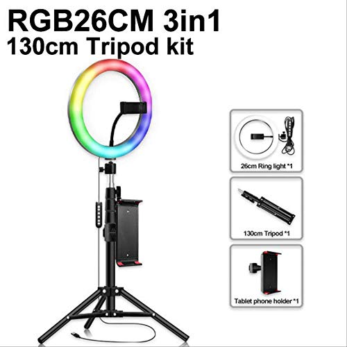 25,4 cm RGB-Licht, bunt, USB, Beauty, Video Studio, Foto, runde Lampe, Ringstativ
