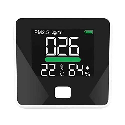 ZYT Zytang PM2.5 Detector Detector de Calidad de Aire Detector Temperatura Medidor de Humedad Monitor de Gas LCD Pantalla LCD Termómetro de Polvo Herramienta multifunción (Color : Black)