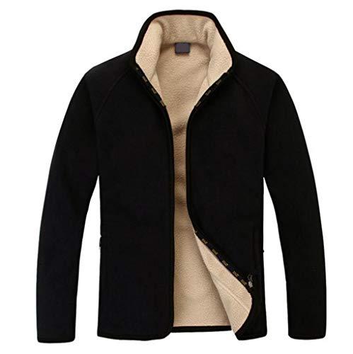 Herrenbekleidung Herbst Herren Verdickung Plus Samtjacke, Herren Outdoor Running Ride Dickes Sweatshirt (Color : Black, Size : M)