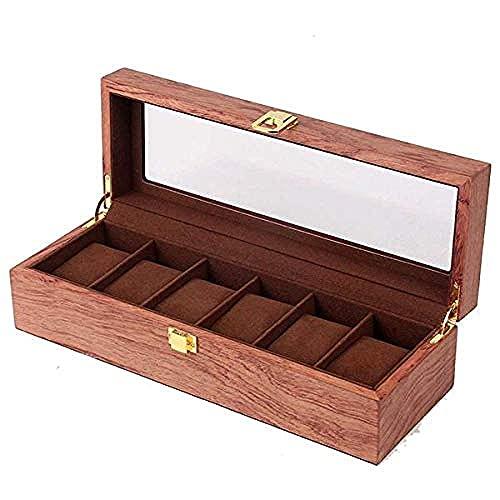 MMYNL Caja de almacenamiento de caja de reloj de 6 dígitos Organizador cosmético caja de reloj de joyería de madera pantalla de inicio caja de madera caja de reloj colección de relojes 31.5*11*8.2cm