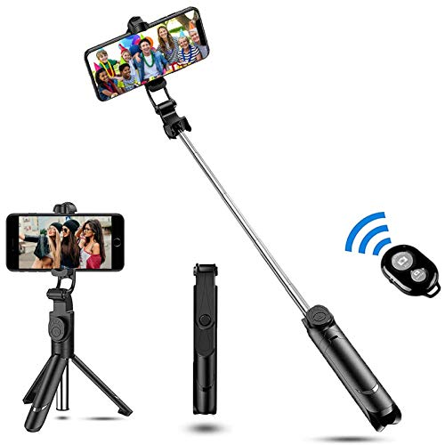 Zommuei Palo Selfie Trípode, Selfie Stick Bluetooth 3 en 1 Mini Tripode Movil con Obturador Bluetooth Rotación de 360° para iPhone 8/8 Plus / 7 / 6s /, Huawei P20 / P10, Galaxy S10 / S9 / 8/7 / 6. etc