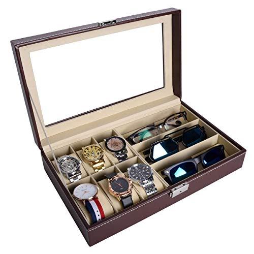 AUTOARK AW-020 - Caja de joyería para 6 relojes y 3 piezas de almacenamiento para gafas de sol y gafas de sol, color marrón
