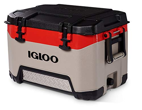 Igloo BMX 52 Quart Cooler with Cool Riser Technology, Fish Ruler, and Tie-Down Points - 16.34 Pounds - Sandstone and Red