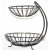 Wrought Iron Double Layer Fruit Basket Metal Fruit Basket Banana Hanger Holder Organizer Metal Fruit Basket Kitchen Supplies