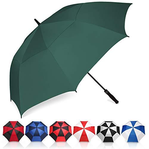 Eono by Amazon - Paraguas de Golf Resistente al Viento con Doble Tela y Sistema de Apertura automático, Paraguas Grande, Large Golf Umbrella, Deportivo, Unisex, Impermeable, 58 Inch, Verde