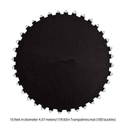 Bulrusely - Almohadilla de repuesto para cama elástica redonda, material de malla de polipropileno antidesgarro, 8 veces cosido para colchón de cama elástica (negro), 100 hebillas, 4,57 m