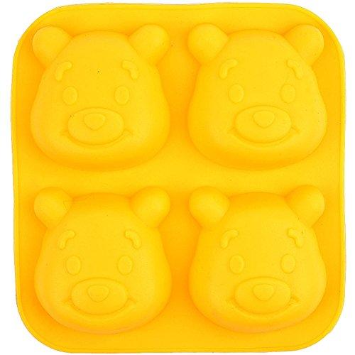 Silicone Cake Molds Pooh Bears - 4 Holes Silicone Mold DIY Handcraft Soap Making Cake Cupcake Chocolate Sugar Craft Fondant Ice Bakeware Tray (4 Holes Pooh Bear)