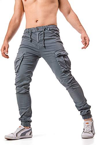 Instinct Pantaloni Uomo Cargo con Tasche Laterali Tasconi Jeans Slim Fit Elastico alle Caviglie Militari...