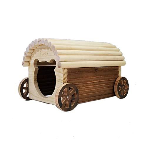 Willlly Hölzernes Autohaus Igelhaus Holz Mit Boden Spielzeug Igelhütte Hamster Chalet Winterfest Mit Boden (Color : 2, Size : 22x13x13)