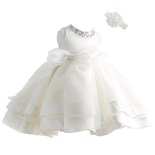 Coozy Baby Girl Dress Christening Baptism Gowns Flower Girl Special Occasion Dress (12M(12-15Months), Ivory)