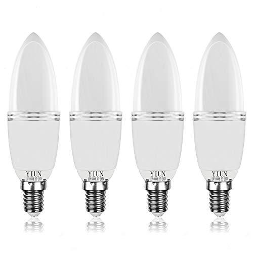 Bombillas de vela LED Yiun E14, Bombillas de candelabro LED 12W Equivalente de 100 vatios, 1200lm, 6000K, Vela decorativa E14, Lámpara LED no regulable, Paquete de 4
