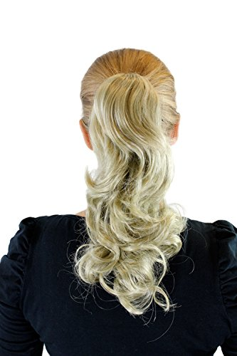 Extension, pastiche, blond clair cendré, couette/tresse, pince papillon, ondulé, env. 35 cm, XF-0002-24A