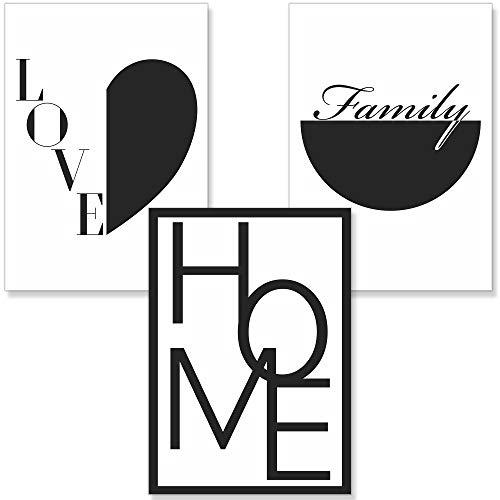 PREMYO Bilder Wohnzimmer Deko - Poster Set Familie Home Herz - Wandbilder Schlafzimmer Ohne Rahmen A4 Schwarz Weiß