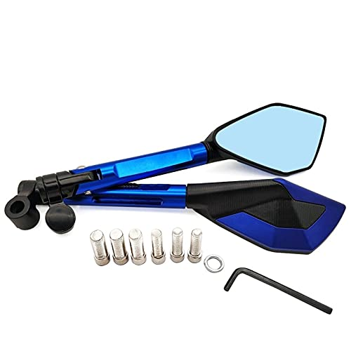 para Honda Forza 300 CB400SF CBR650R CB650R CB125R CBR900RR Motocicletas Universales Espejos De Extremo De Extremo De La Barra Plegable Redonda De 3 Pulgadas (Color : Blue)