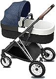 Cochecito estándar, carro para niños pequeños con mango de cebolleta y cuero de algodón y toldo ajustable, PRAM compacto Añadir cubierta de pie