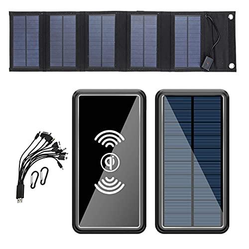 PWQ-01 22.5W Cargador Solar Portátil, 15W Portatil Cargador Solar Panel Placa Plegable Impermeable Power Bank Solar con 6 Salida y 10-in-1 Cables para Puertos Smartphone, Tablet, energía móvil etc