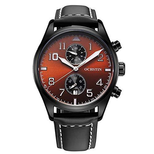 Armbanduhr,Mode-Trend Wasserdicht Geschwindigkeit Messen Lässig Großes Zifferblatt Quarzuhr, Kaffee Gesicht Schwarze Muschel