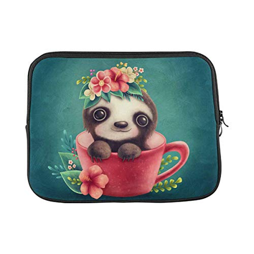 Cute Sloth in a Cup Laptop Sleeve Case 11 11.6 Inch Briefcase Cover Protective Notebook Laptop Bag