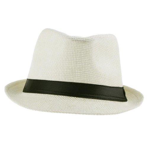EOZY 1Pc Chapeau Panama Paille Unisexe En PP Tresse Plage Soleil Diam.56-58cm Beige