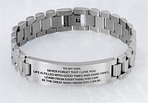 lihai to my Son Bracelet,Bracelets for Your Son from Mum,Titanium Bracelet for Men Engraved,Engraved Bracelet for Boyfriend,Mens Sterling Silver Engraved Bracelet,Courage Bracelet (Silver)