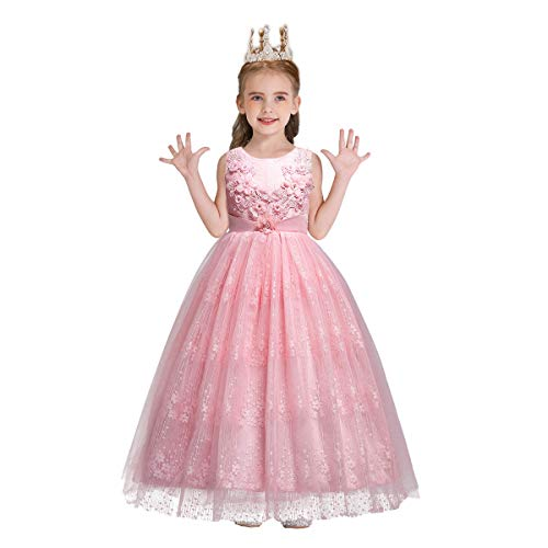 MYRISAM Little Big Girls Embroidery Lace Princess Pageant Dresses Bridesmaid Wedding Party Pageant Birthday Long Gown Pink 13-14T