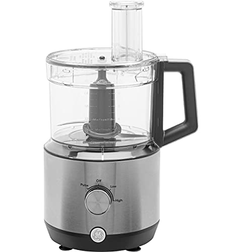 GE 12-Cup Food Processor, Powerful 3-Speed 550 Watt with Ergonomic Handle and Large Feed Tube, Stainless Steel Shredding & Slicing Blades, G8P0AASSPSS