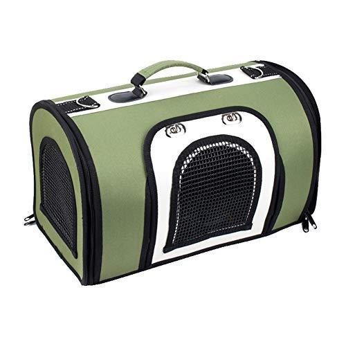 LCHL Pet Mochila Porta For El Medio Perros Gatos Adecuados Viajes Pública Portátil Ajustable Oxford Actualización De Malla Transpirable Jaula del Acoplamiento De Transporte Bolso Verde