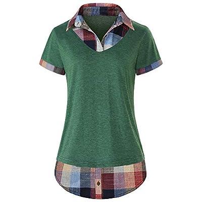 Women's Short Sleeve Top Contrast Collar Knitted Plaid T-Shirt