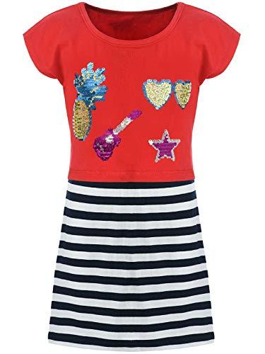 Kmisso Kmisso Kinder Mädchen Kleider Spagetti Sommer-Kleid Top T-Shirt Rock (2 TLG. Set) 30025 Rot 104