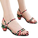 Xinantime Womens Sweet Summer Sandals Casual Strawberry Heel Slip-on Crystal Slippers Sandals Shoes Beach Chunky Slides (Black,8)