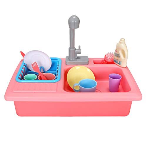TOYANDONA So tun, als Spülmaschine Spielzeug-Sets ohne Batterie für Kinder (rot)
